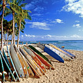 Colorful Surfboards On Waikiki Beach by George Oze