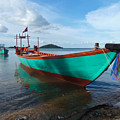 Colorful Turquoise Boat Near The Cambodia Vietnam Border by Jason Rosette