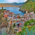 Colorful Vernazza From Behind by Frozen in Time Fine Art Photography