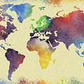 Colorful Watercolor World Map by Irina Sztukowski