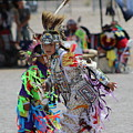 Colorful Young Dancer At Paiute Tribe Pow Wow by Colleen Cornelius