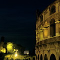 Colosseum Illuminated At Night And The Forums by Sami Sarkis
