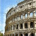 Colosseum Or Coliseum Pencil by Edward Fielding