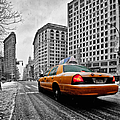Colour Popped Nyc Cab In Front Of The Flat Iron Building  by John Farnan