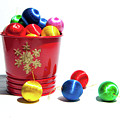 Coloured Baubles In A Pot by Helen Northcott
