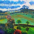 Colourful English Devon Landscape - Early Evening In The Valley by Mike Jory
