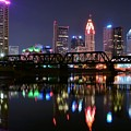 Columbus Ohio Reflecting In The Scioto River by Frozen in Time Fine Art Photography