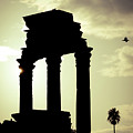Column Sunset Temple Of Castor And Pollux In The Forum Rome Italy by Andy Smy