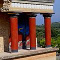 Columns Of Knossos Greece by Nancy Bradley