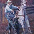 Comin At Ya      Calf Roping Painting by Kim Corpany