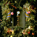 Communion Cup And Host Encircled With A Garland Of Fruit by Jan Davidsz de  Heem
