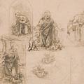 Compositional Sketches For The Virgin Adoring The Christ Child by Leonardo Da Vinci