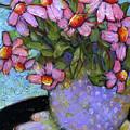 Coneflowers In Lavender Vase by Blenda Studio