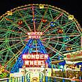 Coney Island's Wonderous Wonder Wheel In Neon by Kendall Eutemey