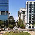 Confederate Monument With Buildings by Panoramic Images