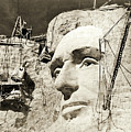 Construction of The Mount Rushmore National Memorial, detail of Abraham Lincoln,1928  by American School