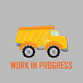 Construction Zone - Dump Truck Work In Progress Gifts - Grey Background by Life Over Here
