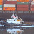 Container Ship And Tug by John Malone