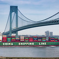 Container Ship Passing The Verrazano Bridge by Jerry Fornarotto