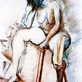 Contemplation - Nude On A Stool by Kerryn Madsen-Pietsch