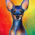 Contemporary Colorful Chihuahua Chiuaua Painting by Svetlana Novikova