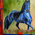 Contemporary Horse Painting Fresian by Mary Jo Zorad