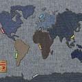 Continental Denim World Map by Michael Tompsett