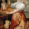 Cook With Chicken. In The Background Christ With Mary And Martha by Joachim Beuckelaer