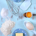 Cooking And Baking On Vintage Blue Wood Table.  by Milleflore Images