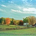Cool Blue Autumn Farm by Aimee L Maher ALM GALLERY