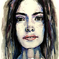Cool Colored Watercolor Face by Hannah Sutherland