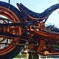 Copper Bike Ny Centennial Statue Of Liberty Ny by Chuck Kuhn
