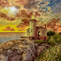 Coquille River Lighthouse 4 by Bekim Art