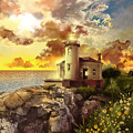 Coquille River Lighthouse by Bekim Art