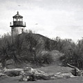 Coquille River Lighthouse Oregon Black And White Giclee Art Print by Gigi Ebert