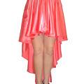Coral Pink Satin High Low Skirt With High Slit. Ameynra Simple Line by Sofia Metal Queen