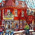 Corner Store Paintings Depanneur Hockey Art Canadian Winter City Scenes Carole Spandau               by Carole Spandau
