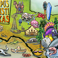 Corpus Christi Texas Cartoon Map by Kevin Middleton