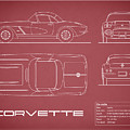 Corvette C1 Blueprint - Red by Mark Rogan
