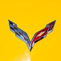 Corvette Emblem On Yellow by J Darrell Hutto