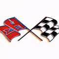 Corvette Flags On White by Charles Abrams
