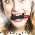 Cosmetic Pin Up With Lipstick Smile by Jorgo Photography - Wall Art Gallery