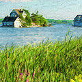 Cottage And A Boathouse - Painterly by Les Palenik