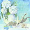 Cottage At The Shore 1 White Hydrangea Bouquet W Driftwood Starfish Sea Glass And Seashell by Audrey Jeanne Roberts