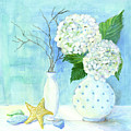 Cottage At The Shore 2 White Hydrangea Bouquet W Sea Glass And Starfish by Audrey Jeanne Roberts