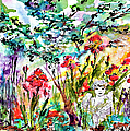 Cottage Garden Angel And Irises by Ginette Callaway