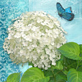 Cottage Garden White Hydrangea With Blue Butterfly by Audrey Jeanne Roberts
