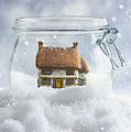Cottage In Snow by Amanda Elwell