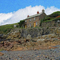 Cottage On Rocks At Port Quin - P4a16009 by Dean Wittle