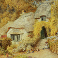 Cottages At Selworthy, Somerset by Arthur Claude Strachan